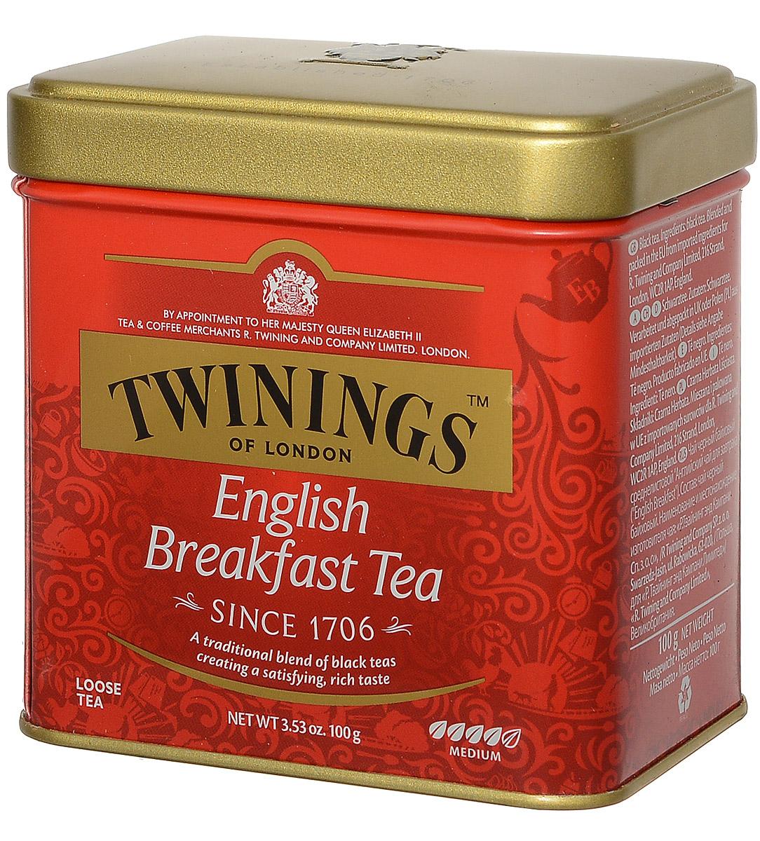 Twinings English Breakfast Tea черный листовой чай, 100 г (ж/б)070177029630Twinings English Breakfast Tea - крепкий освежающий черный чай высшего сорта. Смесь цейлонского и индийского черных чаев, передает ему типичный вкус английского чая. Twinings English Breakfast Tea - бодрящий напиток с насыщенным вкусом и цветом. Идеально подходит для тех, кому трудно просыпаться по утрам. Он хорошо сочетается с молоком или лимоном.