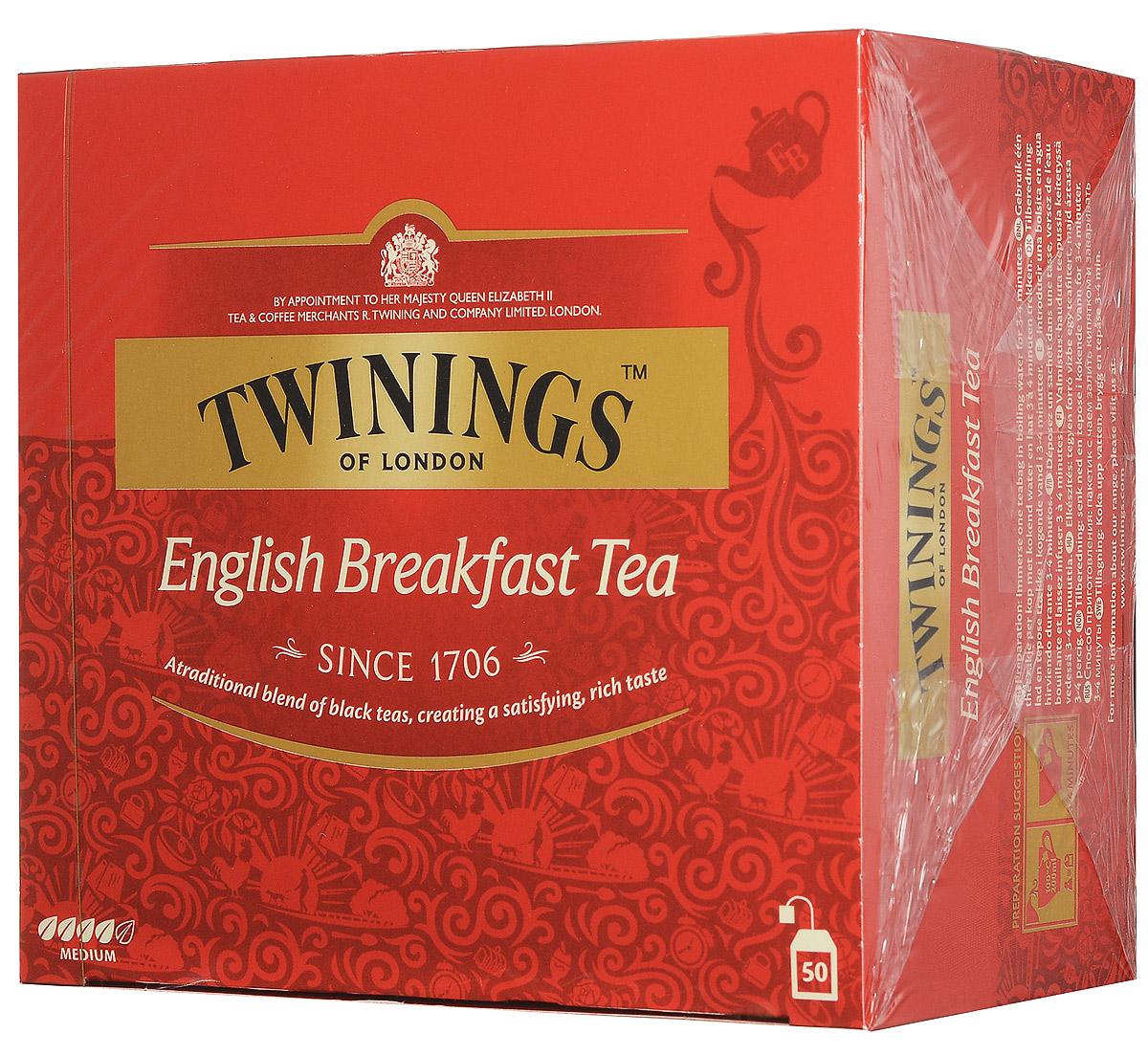 Twinings English Breakfast Tea черный чай в пакетиках, 50 шт070177078904Twinings English Breakfast- классическая смесь черных чаев с насыщенным и приятным вкусом.