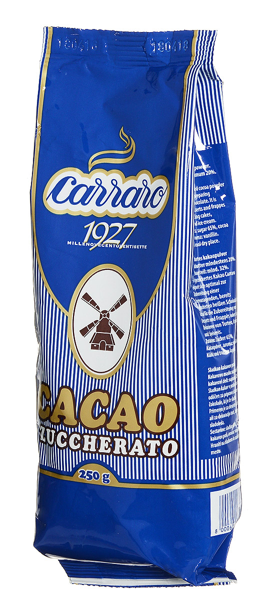 Carraro Sugar Cocoa какао с сахаром, 250 г