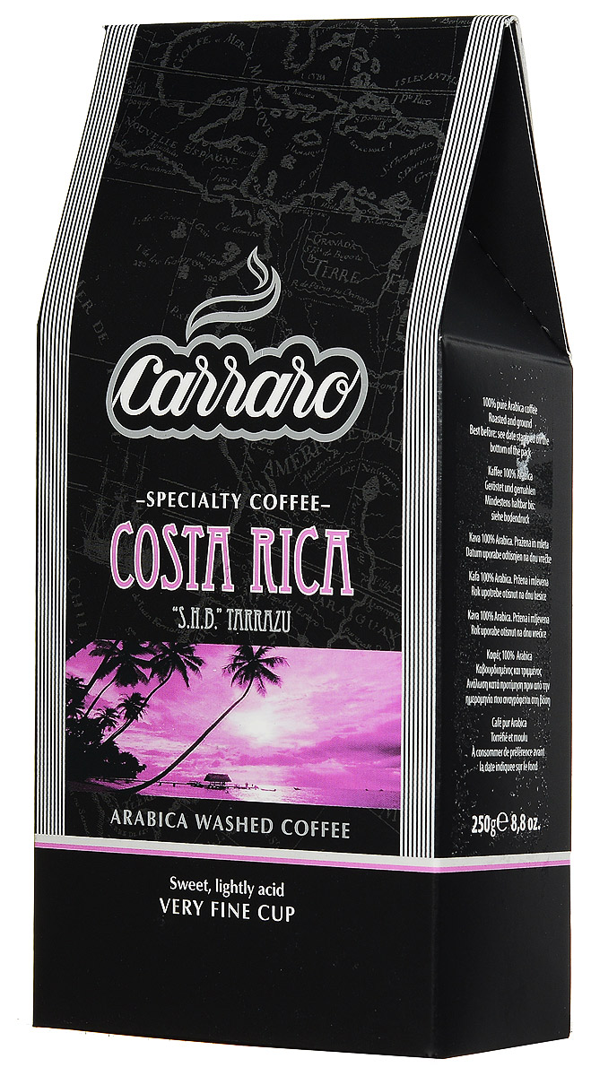 Carraro Costa Rica Arabica 100% кофе молотый, 250 г8000604900173Кофе Carraro Costa Rica выращивается в районе Таррацу на высоте 1500 метров над уровнем моря, где местный климат создает на почве идеальные условия для произрастания кофейной ягоды. Электронная влажная обработка с последующей сортировкой зерна вручную приносит чистый, сладковатый вкус с легкой кислинкой. Мягкая консистенция и богатый цветочный аромат. Эти характеристики делают его идеальным напитком второй половины дня, особенно для американо, идеально сочетаясь со сладким печеньем и пирожными.Кофе: мифы и факты. Статья OZON Гид