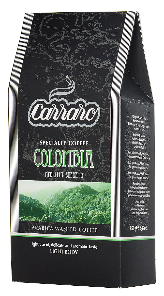 Carraro Colombia Arabica 100% кофе молотый, 250 г кофе молотый carraro colombia 250 гр в у