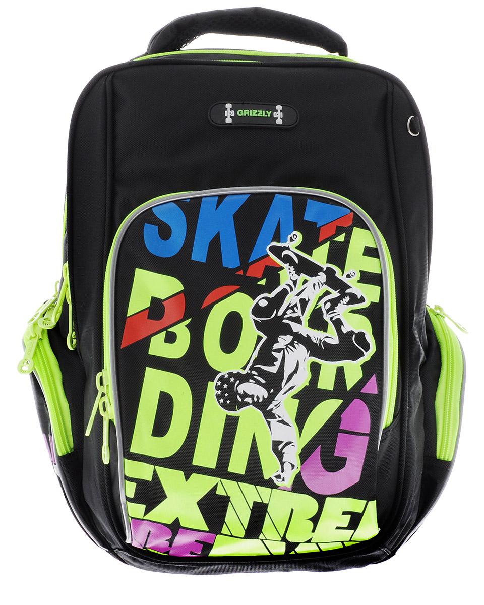 Grizzly Рюкзак детский SkatebordingRB-630-2/1Школьный рюкзак Grizzly. Skatebording - это красивый и удобный рюкзак, который подойдет всем, кто хочет разнообразить свои школьные будни. Рюкзак выполнен из плотного полиэстера и оформлен оригинальным ярким принтом и надписями. Рюкзак имеет два основных вместительных отделения на молнии. На лицевой стороне рюкзака имеется большой накладной карман на молнии, внутри которого расположился открытый карман-сетка. По бокам рюкзак дополнен накладными карманами на молниях. Бегунки застежек-молний дополнены удобными держателями с логотипом Grizzly.Рюкзак оснащен удобной ручкой для переноски, петлей для подвешивания и светоотражающими элементами.Широкие регулируемые лямки и сетчатые мягкие вставки на спинке рюкзака предохранят мышцы спины ребенка от перенапряжения при длительном ношении. Многофункциональный школьный рюкзак станет незаменимым спутником вашего ребенка в походах за знаниями.