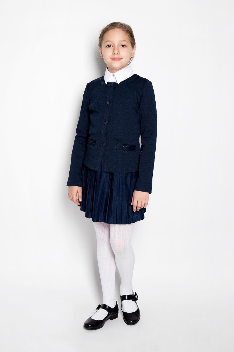 Жакет для девочки Scool, цвет: темно-синий. 364051. Размер 158, 13 лет364051Изысканный жакет для девочки Scool идеально подойдет для вашей модницы. Изготовленный из высококачественнойткани, он необычайно мягкий и приятный на ощупь, не сковывает движения малышки и позволяет коже дышать, не раздражает даже самую нежную и чувствительную кожу ребенка, обеспечивая ему наибольший комфорт. Жакет с длинными рукавами и круглым вырезом горловины застегивается на металлические переливающиеся пуговицы. Модель дополнена имитацией прорезных карманов, оформленных стразами. Горловина также декорирована стразами. Оригинальный современный дизайн и модная расцветка делают этот жакет модным и стильным предметом детского гардероба. В нем ваша малышка будет чувствовать себя уютно и комфортно, и всегда будет в центре внимания!