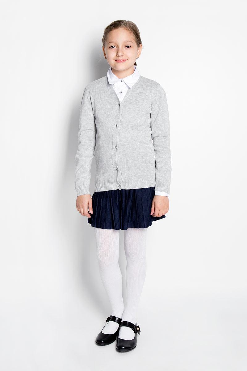 Кардиган для девочки Scool, цвет: серый меланж. 364010. Размер 158, 13 лет364010Стильный кардиган для девочки Scool идеально подойдет для школы и повседневной носки. Изготовленный из хлопковой пряжи с добавлением акрила, он мягкий и приятный на ощупь, не сковывает движения и позволяет коже дышать, не раздражает даже самую нежную и чувствительную кожу ребенка, обеспечивая ему наибольший комфорт. Модель с длинными рукавами и V-образным вырезом горловины застегивается спереди на пуговицы. Низ изделия и манжеты связаны резинкой. Горловина, планка с пуговицами, манжеты и низ модели декорированы люрексом. Классический крой позволяет создавать деловые образы в сочетании с рубашками и водолазками. Однотонный кардиган - хорошая альтернатива пиджаку в прохладное время года. Являясь важным атрибутом школьной моды, он обеспечивает тепло и комфорт.