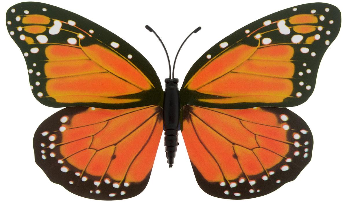 Декоративное украшение Village people Тропическая бабочка, с магнитом, цвет: черный, оранжевый (11), 12 х 8 см декоративная фигура вертушка village people веселый жук цвет оранжевый 68462 4