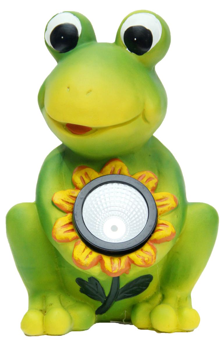 Садовый светильник Magic Home Лягушка, 15,5 х 13 х 22,5 см41377Садовый светильник на солнечных батареях дополнит Ваш сад не только днем, но и ночью. Характеристика : питание от никель-металл-гидридного аккумулятора мощностью 300 ампер-час, тип АА, напряжение 1.2 В, включен в комплект, из полирезины