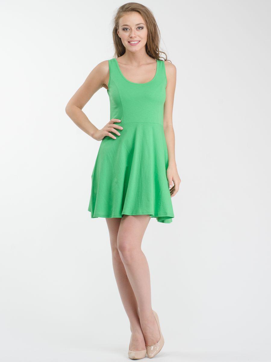 Платье Rocawear, цвет: зеленый. R021636. Размер S (44)R021636Стильное платье мини-длины выполнено из натурального хлопка. Модель А-силуэта с круглым вырезом горловины и без рукавов.