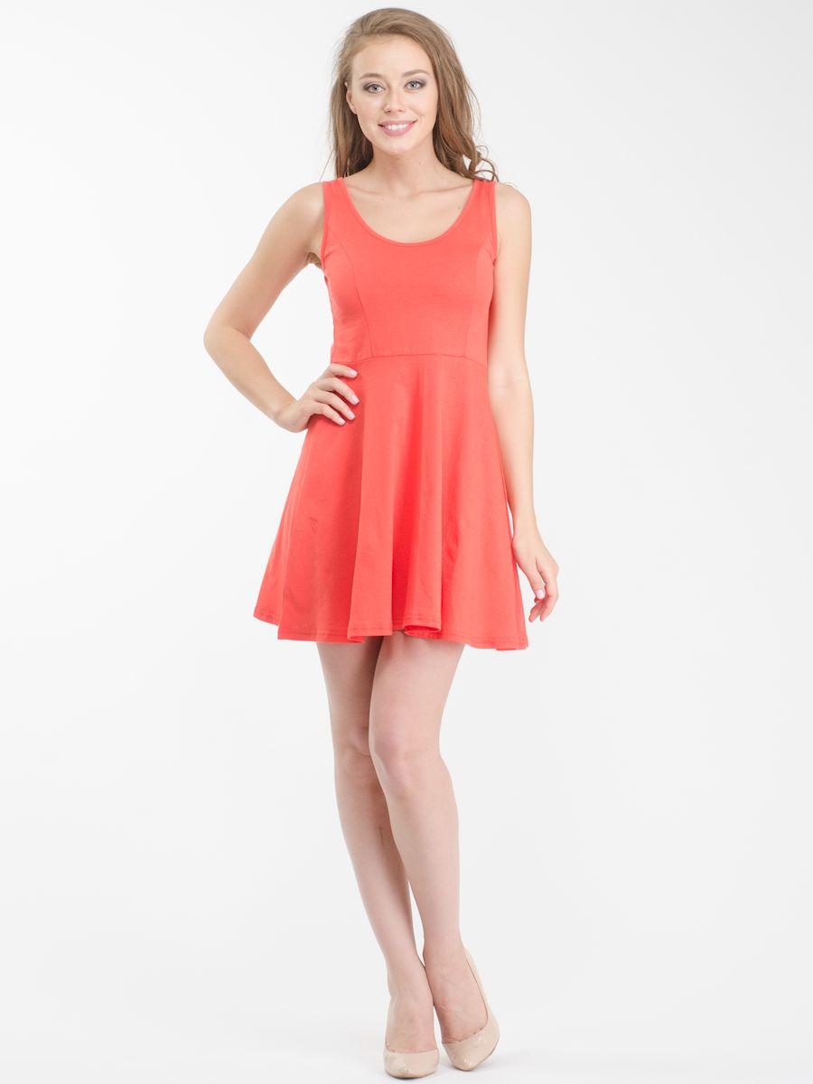 Платье Rocawear, цвет: коралловый. R021636. Размер M (46)R021636Стильное платье мини-длины выполнено из натурального хлопка. Модель А-силуэта с круглым вырезом горловины и без рукавов.
