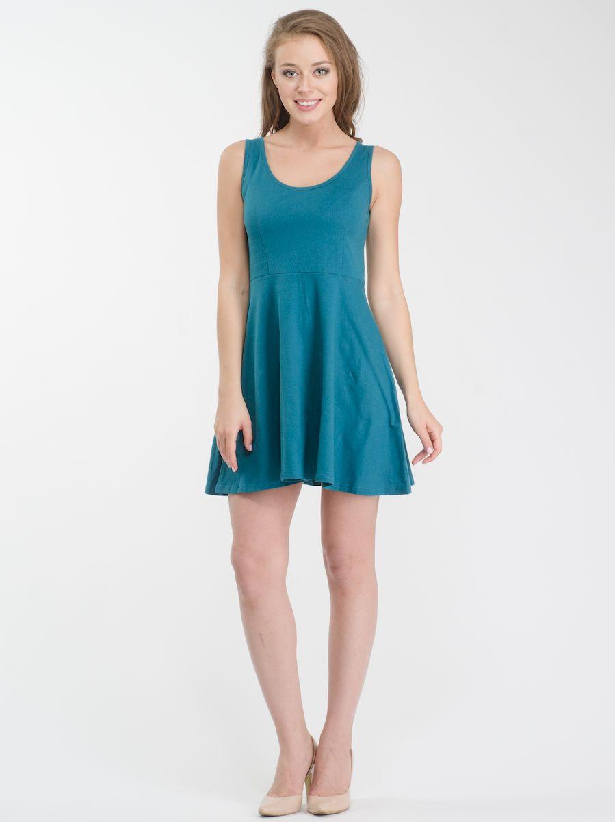 Платье Rocawear, цвет: темно-зеленый. R021636. Размер S (44)R021636Стильное платье мини-длины выполнено из натурального хлопка. Модель А-силуэта с круглым вырезом горловины и без рукавов.