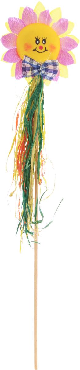 Украшение на ножке Village people Соломенные цветы, цвет: желтый, фиолетовый, оранжевый, высота 32 см украшение на ножке village people соломенные веселые цветы цвет зеленый 66945 1