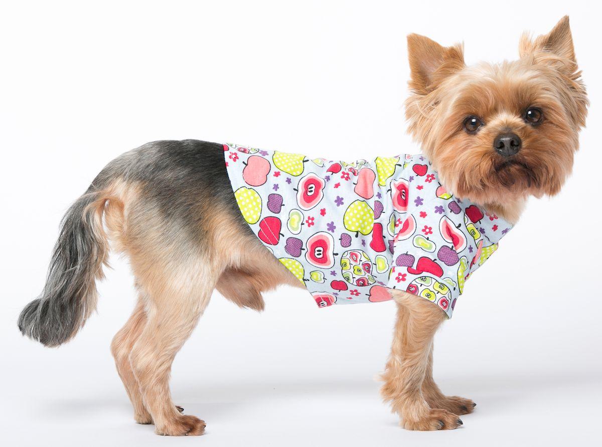 Футболка для собак Yoriki Яблоки, унисекс. Размер XXL393-05Хлопковая футболка для собак Yoriki Яблоки отлично защитит вашего питомца в летний день от пыли и насекомых. Благодаря такой футболке вашему питомцу будет комфортно наслаждаться прогулкой.Обхват шеи: 40-43 см.Длина по спинке: 41 см.Объем груди: 58-61 см.Одежда для собак: нужна ли она и как её выбрать. Статья OZON Гид