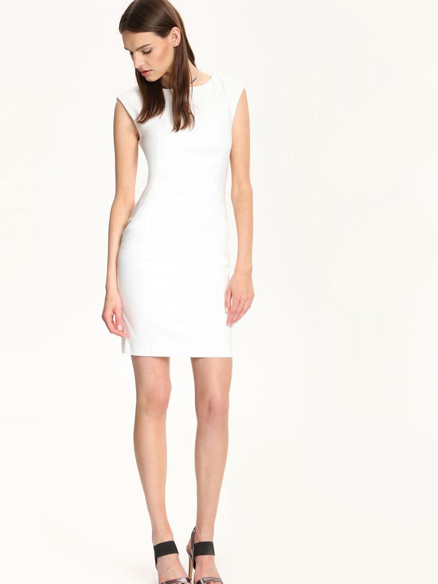 Платье Top Secret, цвет: белый. SSU1551BI. Размер 38 (44)SSU1551BIСтильное платье Top Secret выполнено из хлопка и полиэстера с добавлением эластана.Платье-футляр средней длины с круглым вырезом горловины и без рукавов застегивается на скрытую застежку-молнию, расположенную на спинке.