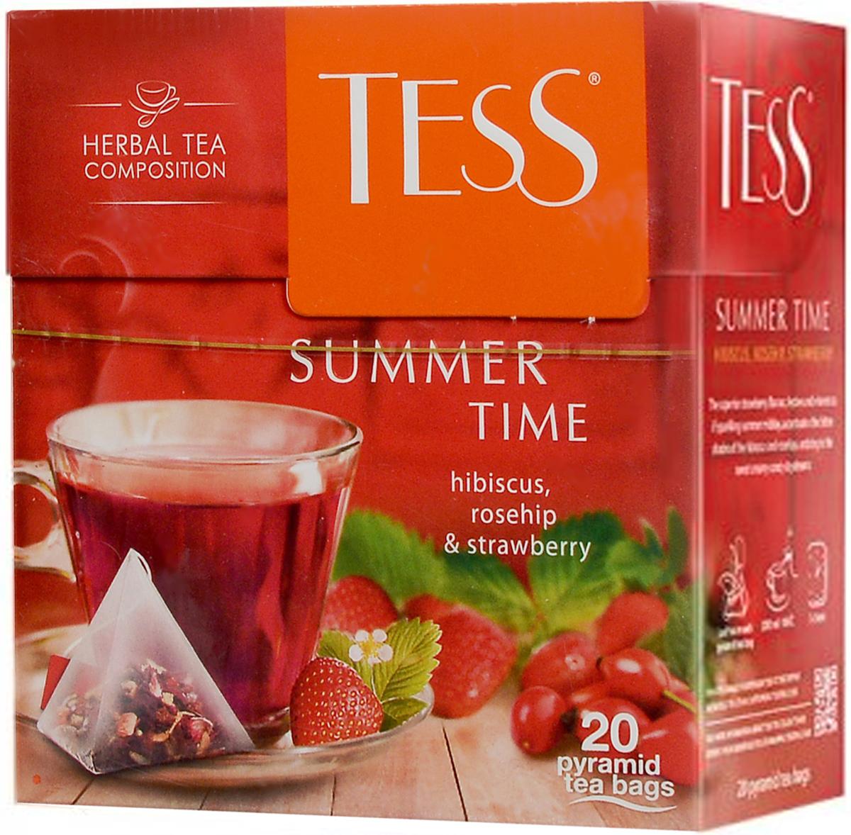 Tess Summer Time травяной чай с гибискусом, шиповником и клубникой в пирамидках, 20 шт майский корона российской империи черный чай в пирамидках 20 шт