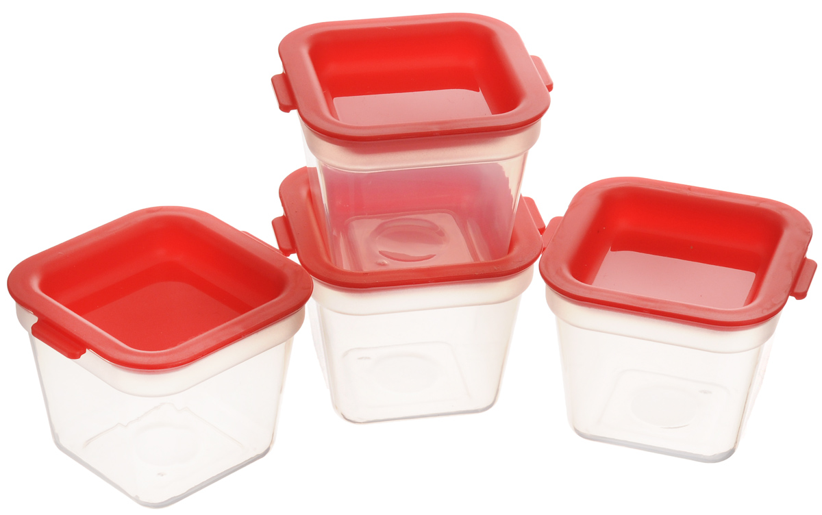"""Набор Tescoma """"Purity"""", выполненный из высококачественного  пищевого пластика, состоит из четырех мини-контейнеров с  плотно закрывающимися цветными крышками. Изделия  отлично подходят для хранения продуктов в морозильной  камере или холодильнике. Контейнеры удобно складываются  друг в друга, что экономит пространство при хранении в шкафу.   Пригодны для морозильников, холодильников, микроволновых  печей. При использовании в микроволновой печи всегда  оставляйте крышку приоткрытой.  Можно мыть в посудомоечной машине.  Объем контейнера: 120 мл. Размер контейнера (без учета крышки): 7 х 7 х 5,5 см."""
