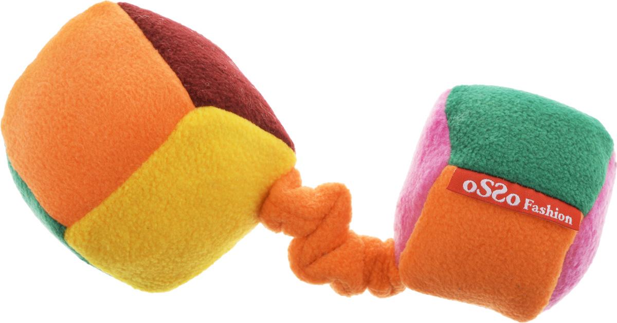 """Игрушка для собак Osso Fashion """"Кубики"""", на резинке с пищалкой, цвет в ассортименте, 10 х 22 см"""