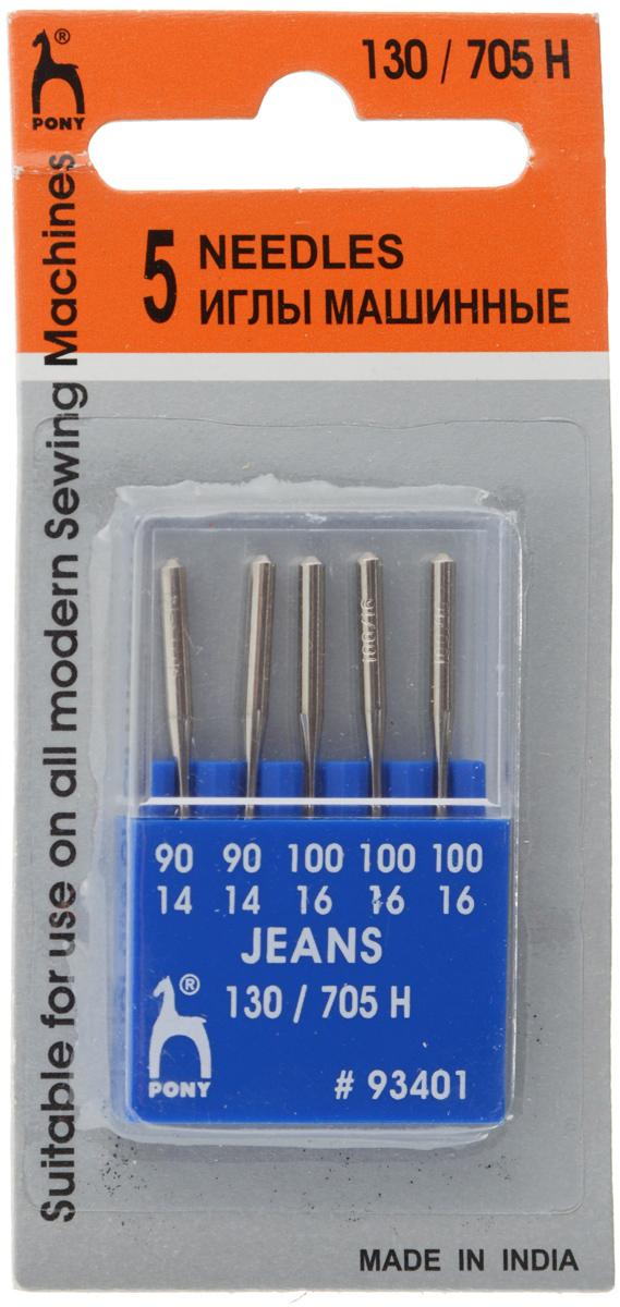 Иглы для швейных машин Pony, для джинсовой ткани, №90-100, 5 шт иглы для швейных машин schmetz для джинсовой ткани 90 110 5 шт