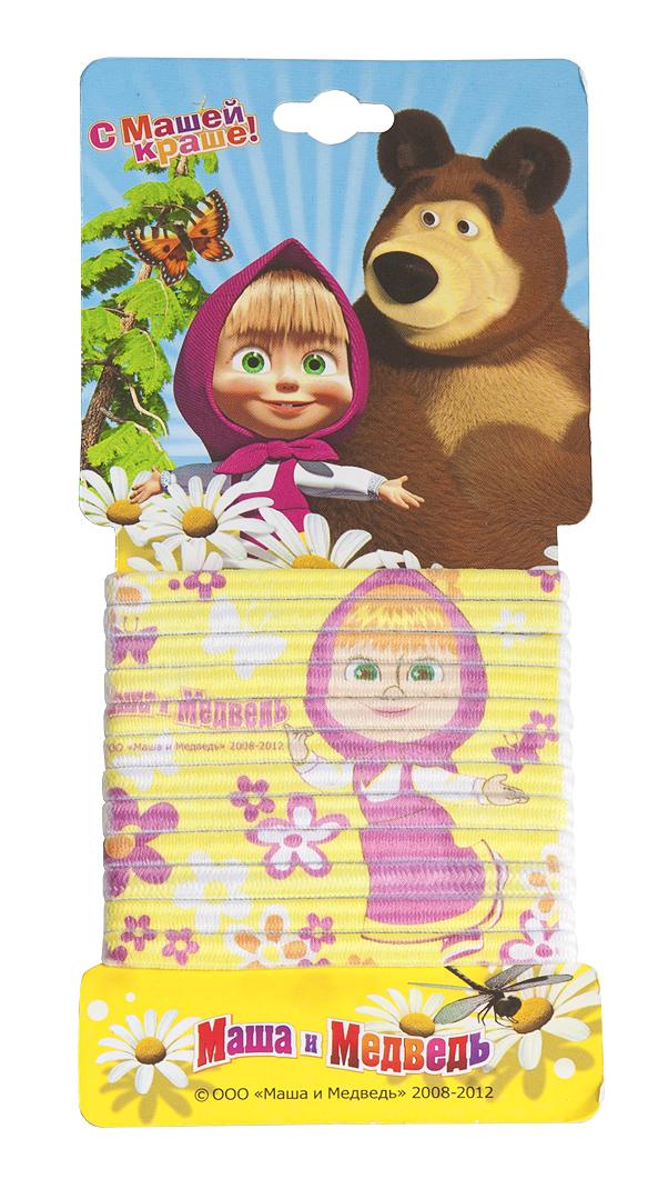 Маша и медведь Набор резинок для волос с принтом цвет желтый 12 шт329039Девчонки обожают прически, к примеру, хвостики или косички. А вместе с любимой Машей заплетать их еще веселее!