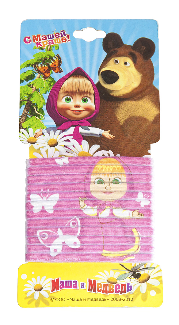Маша и медведь Набор резинок для волос с принтом цвет фуксия 12 шт331043Девчонки обожают прически, к примеру, хвостики или косички. А вместе с любимой Машей заплетать их еще веселее!