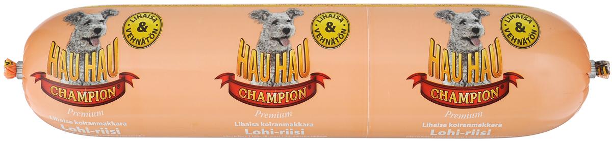 Колбаса для собак Hau-Hau, из лосося с рисом, 800 г81888Колбаса для собак Hau-Hau содержит большое количество мяса и подходит для собак любых размеров. Колбаса изготовлена из свежего мяса и рыбы, содержание которых не менее 95%. Как связующее вещество используется мелкомолотый рис, продукт также обогащен витаминами и минералами. Колбаса не содержит пшеницы, красителей и консервантов.До вскрытия упаковки можно хранить при комнатной температуре. Открытый продукт следует хранить в холодильнике в течение 2-3 дней. Товар сертифицирован.Чем кормить пожилых собак: советы ветеринара. Статья OZON Гид