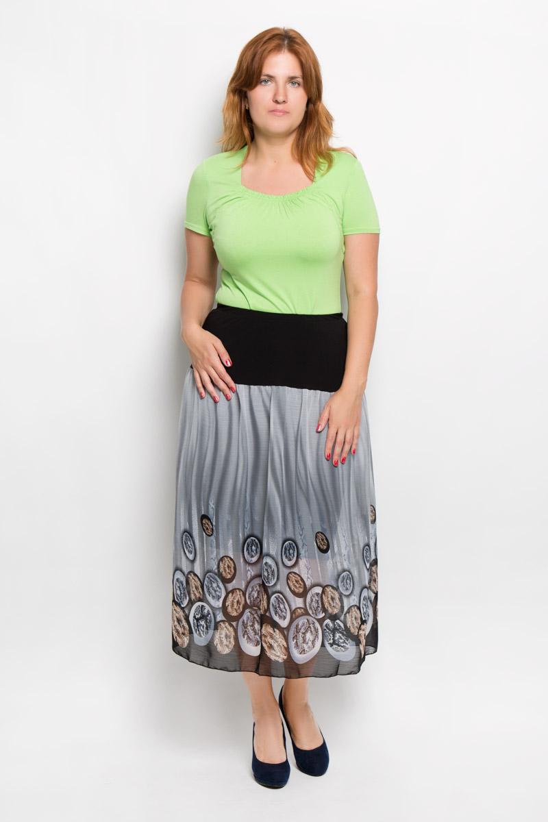 Юбка Milana Style, цвет: серый, черный, коричневый. 913м. Размер L (48)913мЭффектная юбка Milana Style выполнена из эластичного полиэстера с добавлением вискозы, она обеспечит вам комфорт и удобство при носке.Юбка-макси с подъюбником дополнена широкой эластичной резинкой на талии. Модель украшена оригинальным принтом. Модная юбка-макси выгодно освежит и разнообразит ваш гардероб. Создайте женственный образ и подчеркните свою яркую индивидуальность! Классический фасон и оригинальное оформление этой юбки сделают ваш образ непревзойденным.