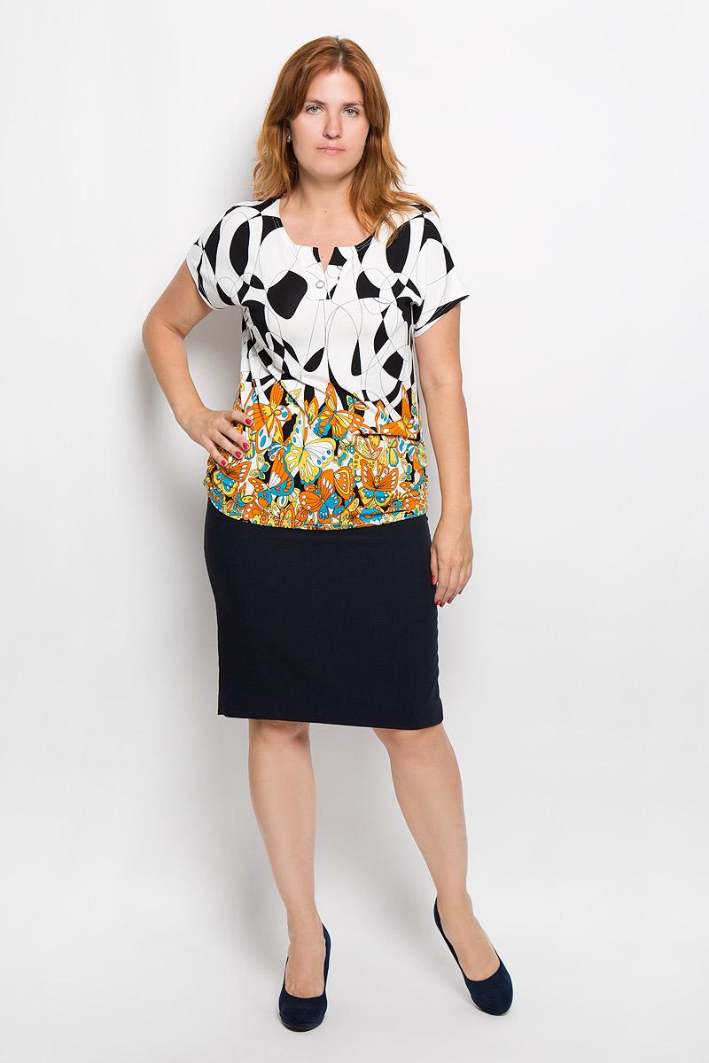 Футболка женская Milana Style, цвет: белый, черный, оранжевый. 946м. Размер L (48)946мСтильная женская футболка Milana Style, выполненная из эластичной вискозы, обладает высокой теплопроводностью, воздухопроницаемостью и гигроскопичностью, позволяет коже дышать. Модель с короткими цельнокроеными рукавами и V-образным вырезом горловины - идеальный вариант для создания стильного современного образа. Футболка украшена крупным принтом с изображением бабочек.Такая модель подарит вам комфорт в течение всего дня и послужит замечательным дополнением к вашему гардеробу.
