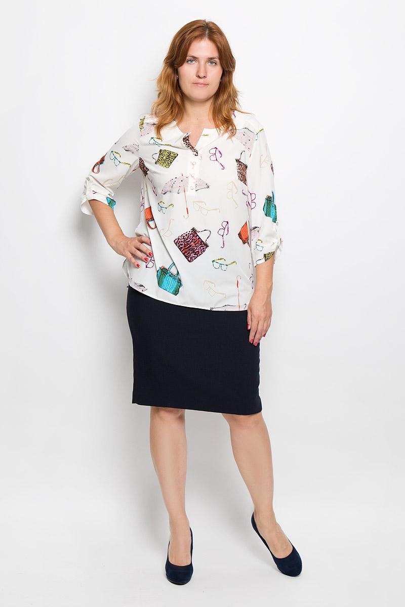Блузка женская Milana Style, цвет: молочный. 937м. Размер XXXXL (56)937мСтильная женская блуза Milana Style, выполненная из эластичного полиэстера с добавлением вискозы, подчеркнет ваш уникальный стиль и поможет создать оригинальный женственный образ.Блузка с рукавами 3/4 и V-образным вырезом горловины оформлена принтом с изображением сумочек. Изделие застегивается на пуговицы на груди, рукава дополнены хлястиками на пуговицах. Модель имеет удлиненную спинку. Такая блузка идеально подойдет для жарких летних дней. Эта блузка будет дарить вам комфорт в течение всего дня и послужит замечательным дополнением к вашему гардеробу.