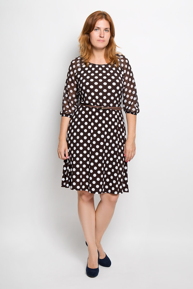 Платье Milana Style, цвет: шоколадный, белый. 877м. Размер M (46)877мЭлегантное платье Milana Style выполнено из высококачественного эластичного полиэстера с добавлением вискозы. Такое платье обеспечит вам комфорт и удобство при носке и непременно вызовет восхищение у окружающих.Модель с круглой горловиной и рукавами-реглан длиной 3/4 выполнена из высококачественного материала и оформлена принтом в крупный горох. Рукава изготовлены из полупрозрачной ткани. На талии изделие присборено на эластичную резинку. В комплект входит тонкий ремешок из искусственной кожи с металлической пряжкой. Изысканное платье-миди создаст обворожительный и неповторимый образ.Это модное и удобное платье станет превосходным дополнением к вашему гардеробу, оно подарит вам удобство и поможет подчеркнуть свой вкус и неповторимый стиль.