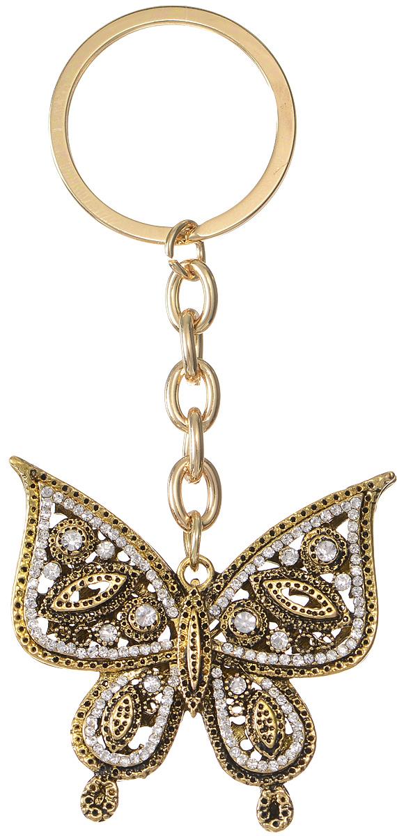 """Оригинальный брелок для ключей """"Mitya Veselkov"""" изготовлен из металлического сплава с чернением и пластика. Объемный декоративный элемент выполнен в виде золотой бабочки, украшенной серебряными стразами. Замок брелока представлен в виде заводного кольца.  Мелочей в образе не бывает, поэтому внимания требуют даже брелоки для ключей, ведь так приятно открывать дверь любимого дома ключом с красивым брелоком."""