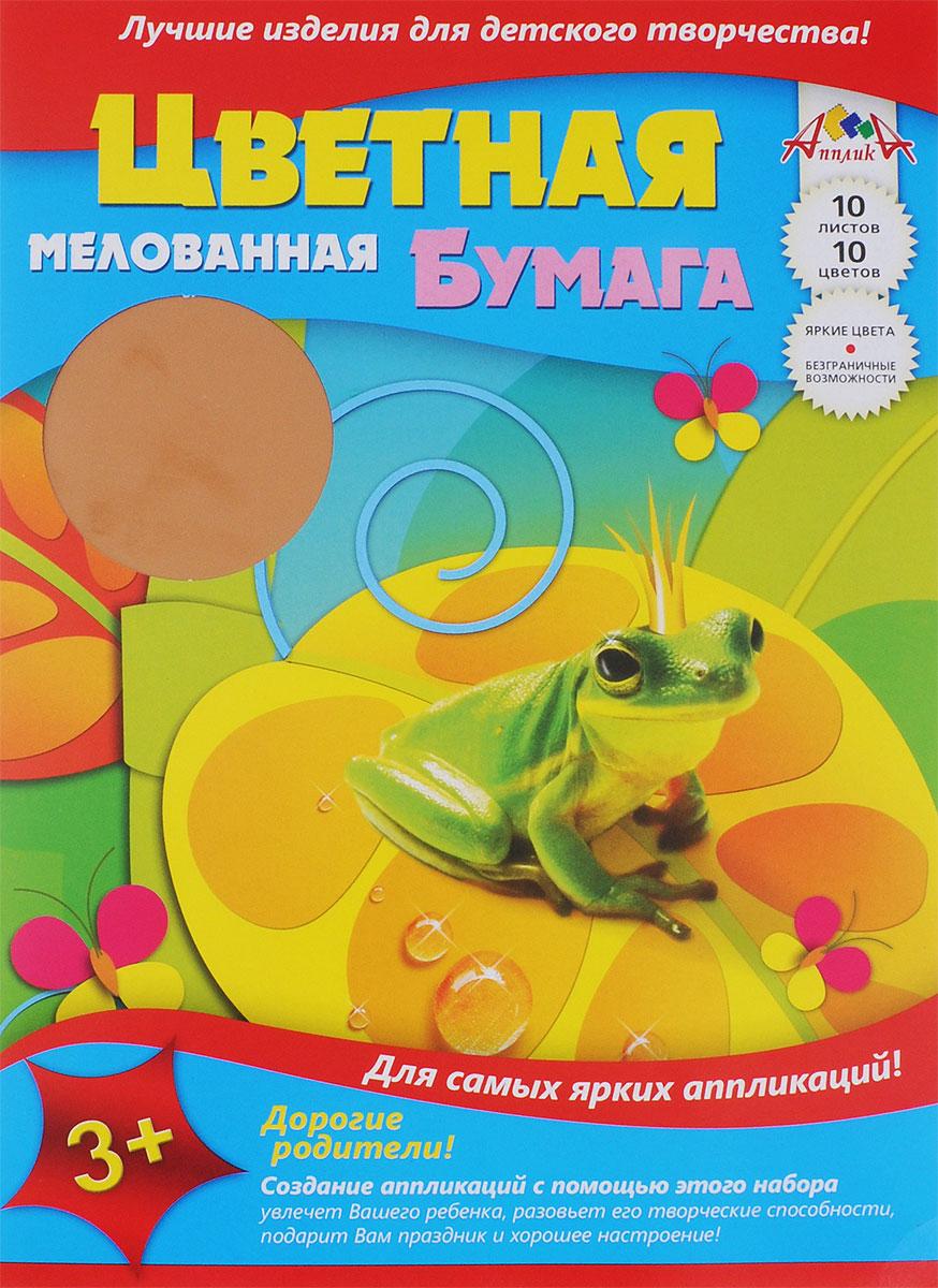 Апплика Цветная бумага мелованная Царевна-Лягушка 10 листов бумага herlitz 20х28 10 листов 10 цветов для поделок