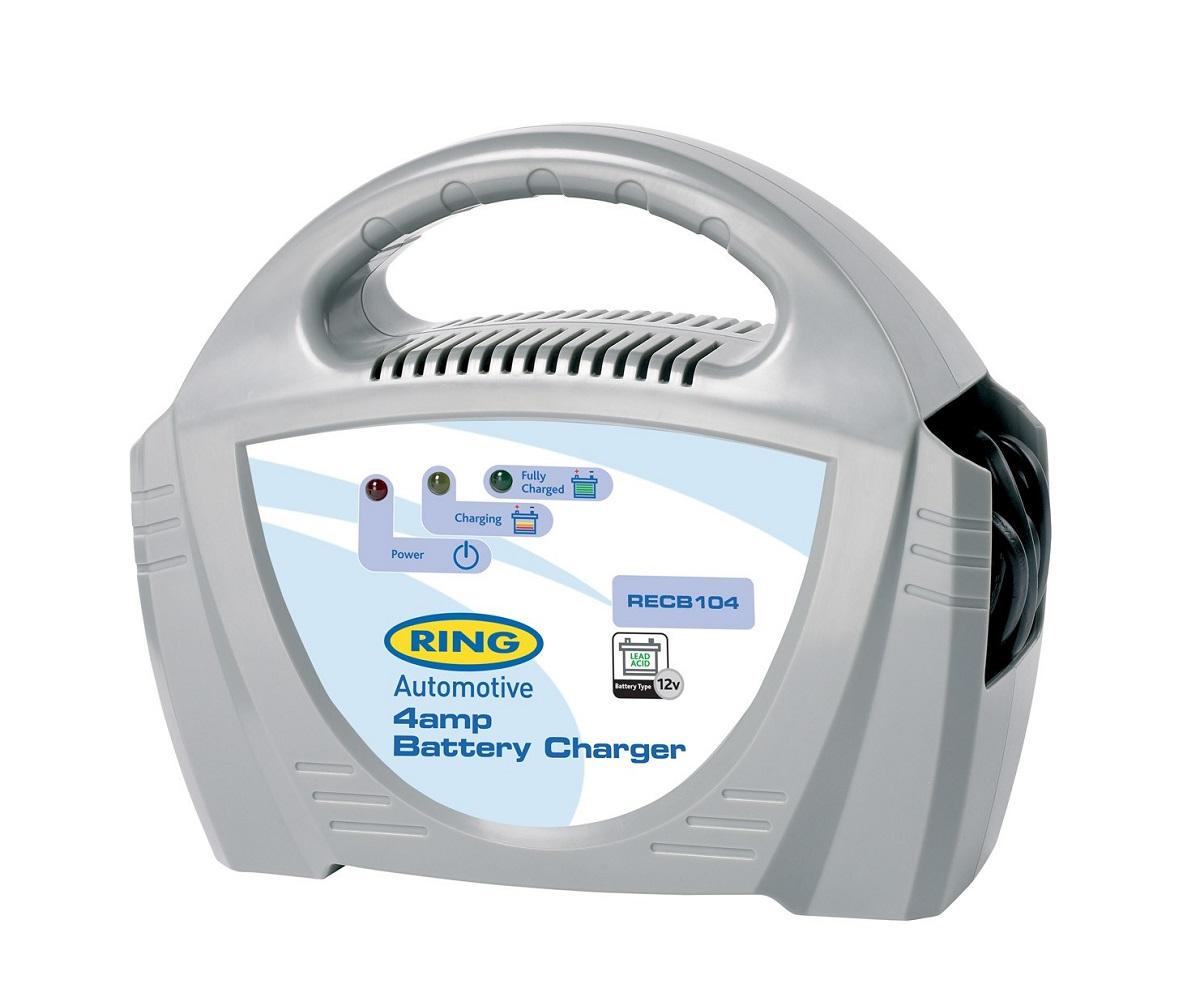 Зарядное устройство Ring Automotive. RECB104RECB104Зарядное устройство Ring Automotive предназначено для свинцово-кислотных аккумуляторных батарей 12В. Ток зарядки: 4А. Зажимы типа крокодил и кабель питания убираются внутрь прибора. Автоматическая работа. Светодиодные индикаторы зарядки и заряженной батареи. Рекомендуется для АКБ емкостью 20-50 Ач. Удобная ручка для переноски. Предохранитель 5А.