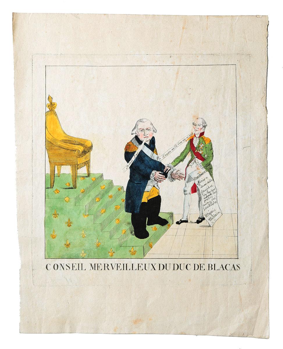 Замечательный совет герцога де Блака. Гравюра, ручная раскраска. Франция, 1815 год