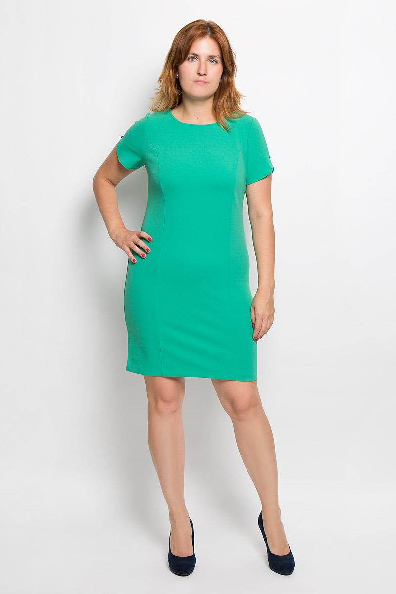 Платье Milana Style, цвет: зеленый. 940м. Размер XL (50)940мЭлегантное платье Milana Style выполнено из высококачественного эластичного полиэстера с добавлением вискозы. Такое платье обеспечит вам комфорт и удобство при носке и непременно вызовет восхищение у окружающих.Модель-миди с короткими рукавами и круглым вырезом горловины выгодно подчеркнет все достоинства вашей фигуры. Рукава платья украшены небольшими подвесками со стразами. Изысканное платье-миди создаст обворожительный и неповторимый образ.Это модное и удобное платье станет превосходным дополнением к вашему гардеробу, оно подарит вам удобство и поможет подчеркнуть свой вкус и неповторимый стиль.