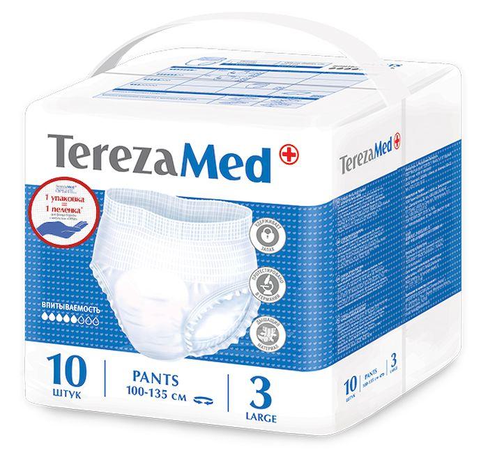 TerezaMed Подгузники-трусы для взрослых Large №3 10 штSG-81567921Подгузники-трусики TerezaMed Large предназначены для активных людей с легкой и средней формой недержания. Они выполнены из мягкого дышащего материала, который пропускает пары влаги. Это позволяет коже пациента под подгузником дышать, а так же снижает риск появления опрелостей. Ядро подгузника состоит из натурального материала - целлюлозы, в которую добавлен суперабсорбент, впитывающий жидкость в больших количествах и обладающий свойством подавлять развитие неприятного запаха. Распределительный слой эффективно впитывает жидкость и распределяет ее внутри подгузника, тем самым снижая риск появления протечек. Боковые бортики вокруг ног сделаны из гидрофобного материала и надежно запирают жидкость внутри. Размер талии пациента: большой, 100-135 см.Количество в упаковке: 10 штук.Впитываемость: 1300 мл (±5%).