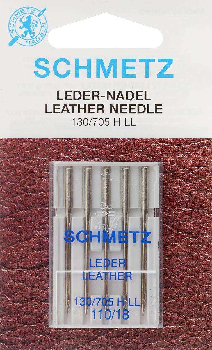 """Иглы для бытовых швейных машин """"Schmetz"""", для кожи, №110, 5 шт"""