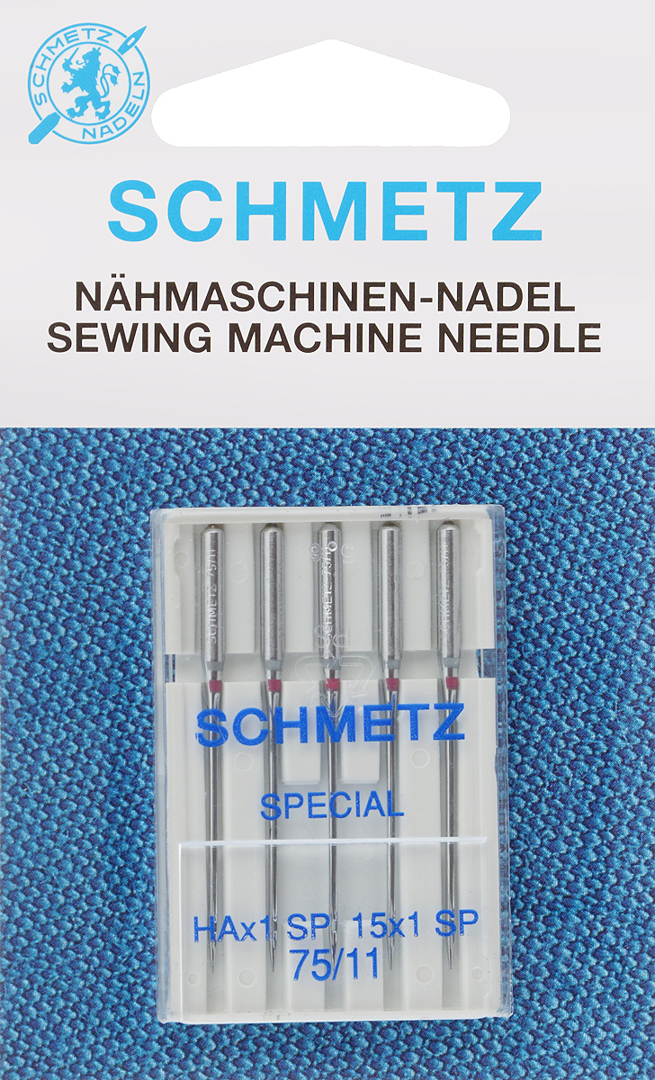 """Иглы для бытовых швейных машин """"Schmetz"""", для трикотажа, №75, 5 шт"""