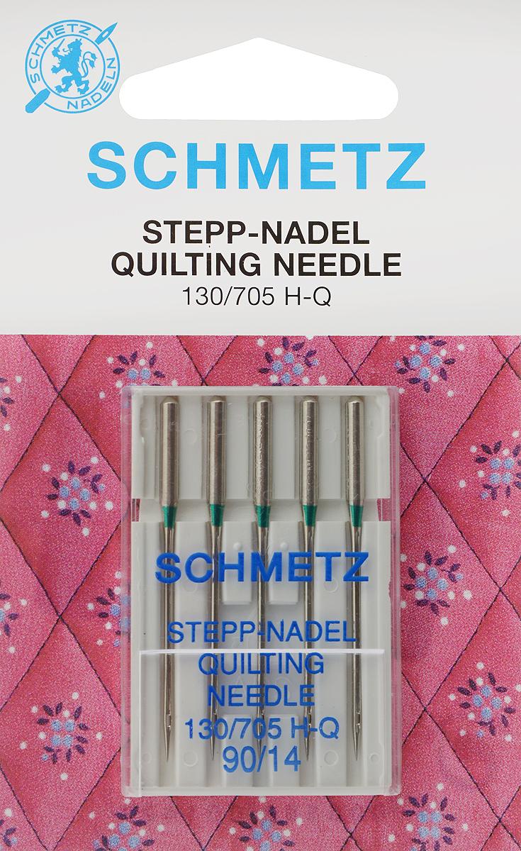 Иглы для бытовых швейных машин Schmetz, для квилтинга, №90, 5 шт иглы для плоскошовных машин schmetz 90 5 шт