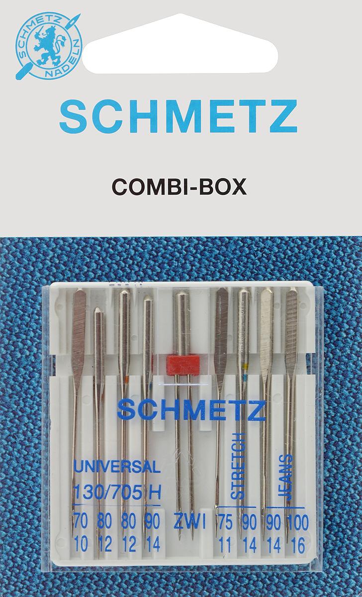 Иглы для бытовых швейных машин Schmetz, комбинированные, 9 шт22:15.2.KNSКомбинированные иглы Schmetz, выполненные из никеля, подходят для бытовых швейных машин всех марок. В набор входят универсальные иглы, которые идеально подходят для всех тканых материалов, а также специальные иглы для трикотажа и джинсы и двойная игла для декоративной отделки. Иглы имеют небольшой закругленный кончик, что делает их универсальными в использовании с различными видами тканей.В комплекте пластиковый футляр для переноски и хранения.Система универсальных игл: 130/705 H.Номера игл: - универсальные 70, 80 (2 шт.), 90; - для трикотажа: 75, 90;- для джинсы: 90, 100.