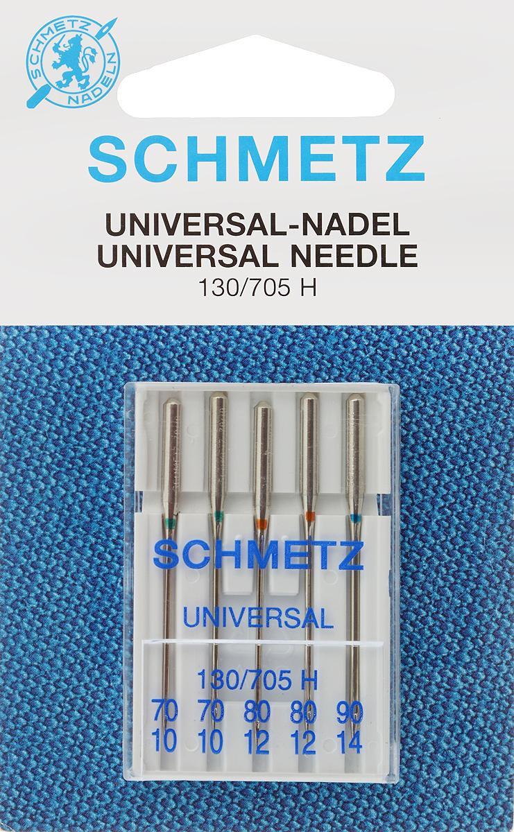 Иглы для бытовых швейных машин Schmetz, универсальные, №70,80, 90, 5 шт22:15.2.VHSУниверсальные иглы Schmetz, выполненные из никеля, подходят для бытовых швейных машин всех марок. В набор входят универсальные иглы, которые идеально подходят для всех тканых материалов. Иглы имеют небольшой закругленный кончик, что делает их универсальными в использовании с различными видами тканей. Каждый номер иглы помечен своим цветовым кодом.В комплекте пластиковый футляр для переноски и хранения.Система универсальных игл: 130/705 H.Номера игл: 70/10 (2 шт.), 80/12 (2 шт.), 90/14.