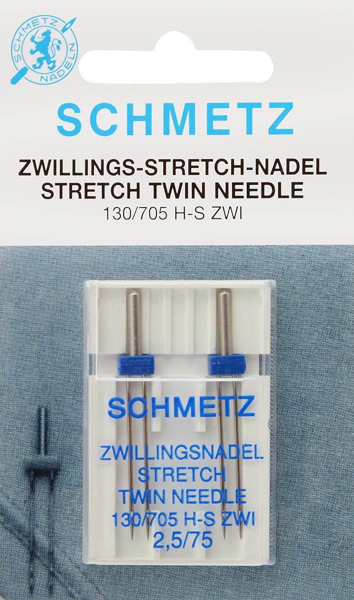 """Иглы стрейч для бытовых швейных машин """"Schmetz"""", для трикотажа, двойные, №75, 2,5 мм, 2 шт"""