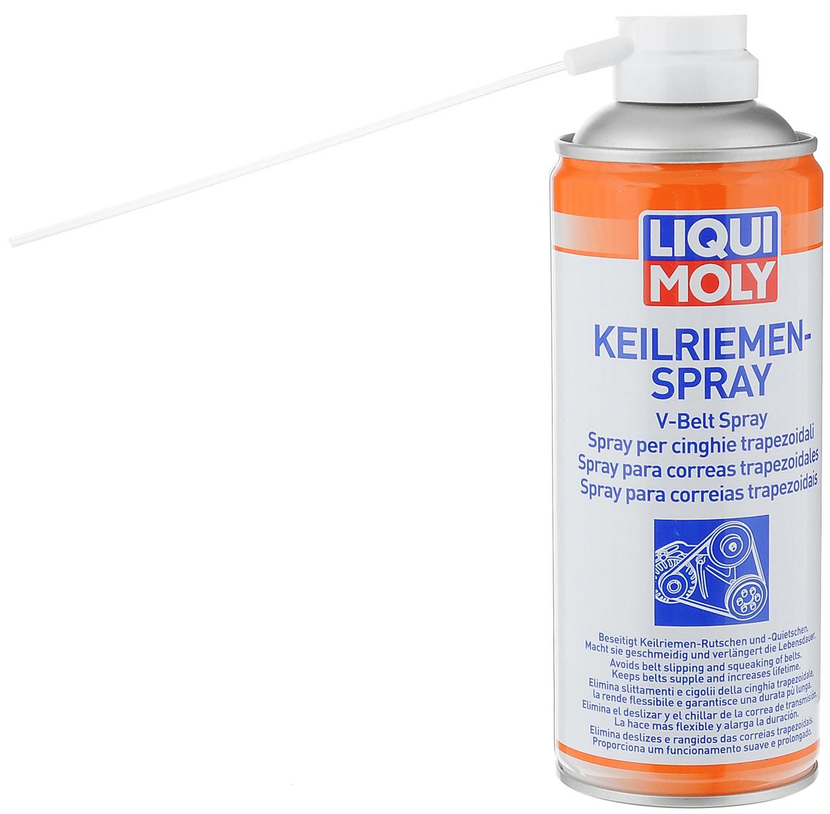 Спрей для клинового ремня LiquiMoly Keilriemen-Spray, 0,4 л4085Спрей LiquiMoly Keilriemen-Spray - это прекрасное профессиональное средство для восстановления старых изношенных приводных клиновых и поликлиновых ремней (генератора, гидроусилителя руля, вариатора, водяного насоса, кондиционера и другого). Устраняет скрип и проскальзывание. Быстро, безопасно и эффективно очищает поверхность от масляных и других видов загрязнений, увеличивает эластичность резинового слоя, при постоянной обработке предотвращается растрескивание и повышается срок службы. Способствует увеличению КПД передачи.Состав: ацетон, диметиловый эфир, нефтяные компоненты, пропеллент бутан.