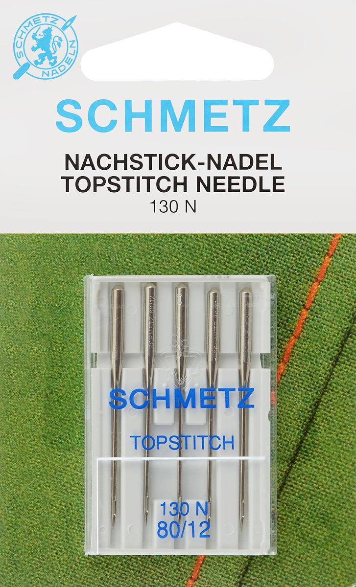 """Иглы для бытовых швейных машин Schmetz """"Topstitch"""", для декоративных строчек, №80, 5 шт"""