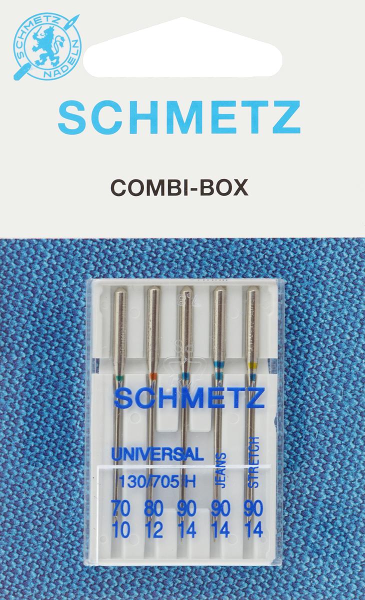 Иглы для бытовых швейных машин Schmetz, комбинированные, 5 шт22:15.2.VVSКомбинированные иглы Schmetz, выполненные из никеля, подходят для бытовых швейных машин всех марок. В набор входят универсальные иглы, которые идеально подходят для всех тканых материалов, а также специальные иглы для трикотажа и джинсы. Иглы имеют небольшой закругленный кончик, что делает их универсальными в использовании с различными видами тканей. каждая игла имеет свой цветовой код.В комплекте пластиковый футляр для переноски и хранения.Система универсальных игл: 130/705 H.Номера игл: - универсальные 70, 80, 90; - для трикотажа: 90;- для джинсы: 90.