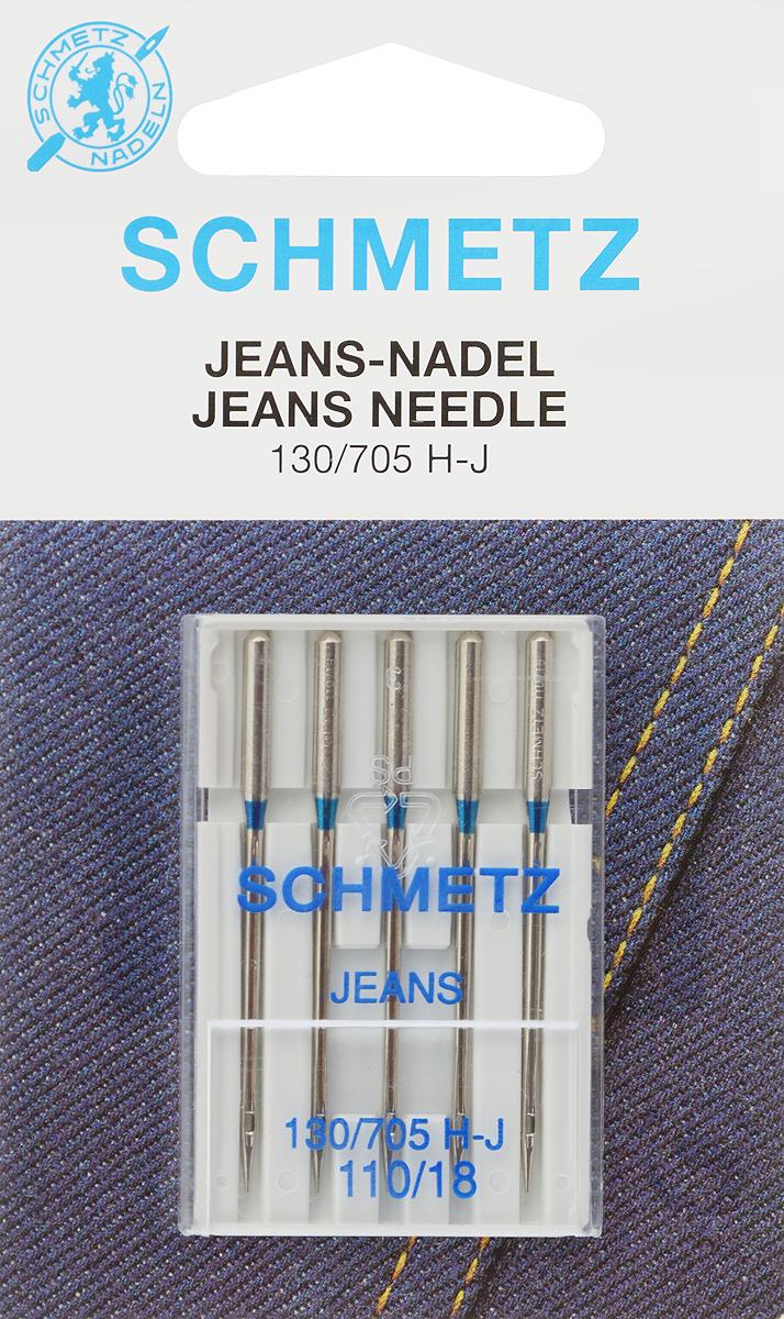 """Иглы для бытовых швейных машин """"Schmetz"""", для джинсы, №110, 5 шт"""
