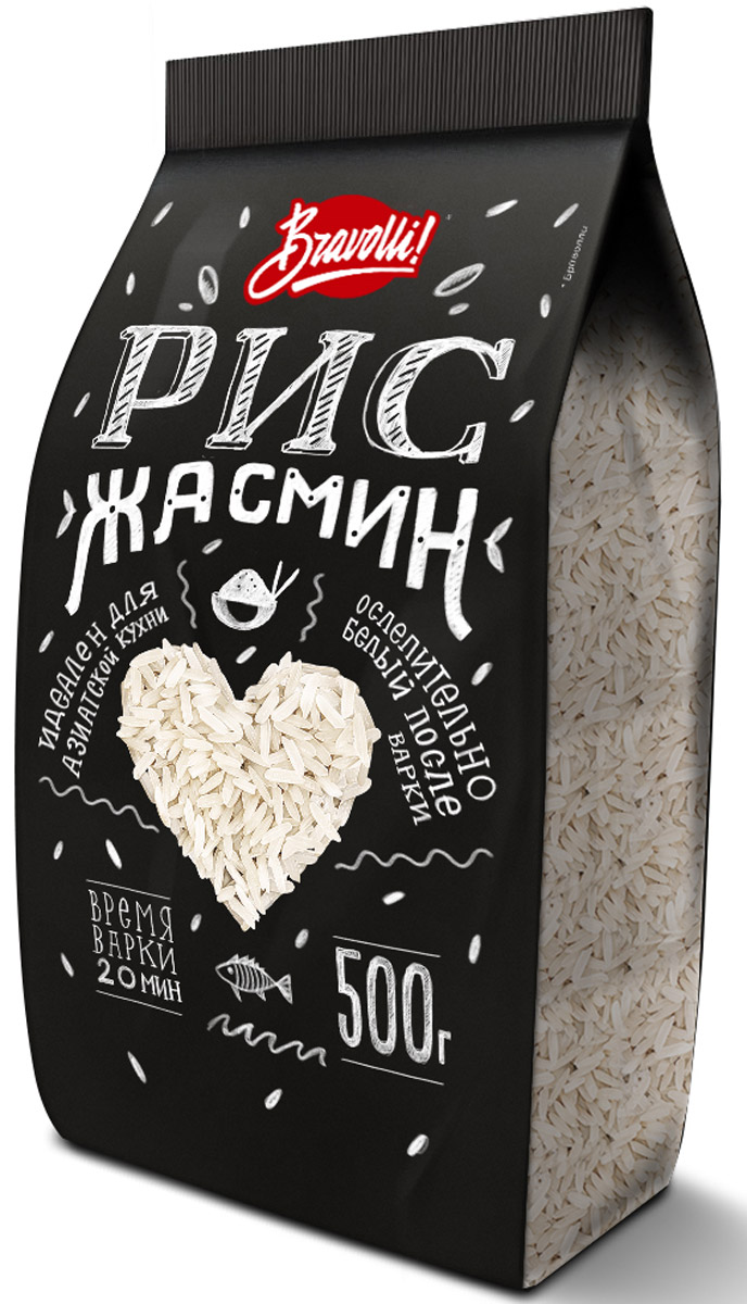 Bravolli Жасмин рис, 500 гБР 61-0,5/6Рис Жасмин - белый длиннозерный рис, который обладает природным (натуральным) ароматом, напоминающим благоухание белого цветка жасмина.Лайфхаки по варке круп и пасты. Статья OZON Гид