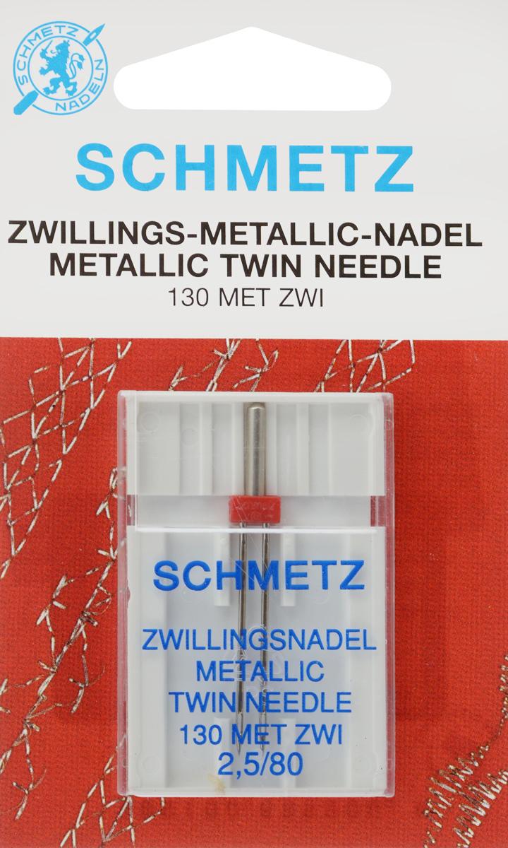 Игла для машинной вышивки Schmetz, для металлизированных нитей, двойная, №80, 2,5 мм64:25 2 SCSСпециальная игла Schmetz, выполненная из никеля, подходит для бытовых вышивальных машин всех марок. Игла предназначена для вышивания металлизированными нитями.В комплекте пластиковый футляр для переноски и хранения.Система иглы: 130 MET ZWI.Номер иглы: 80. Расстояние между иглами: 2,5 мм.