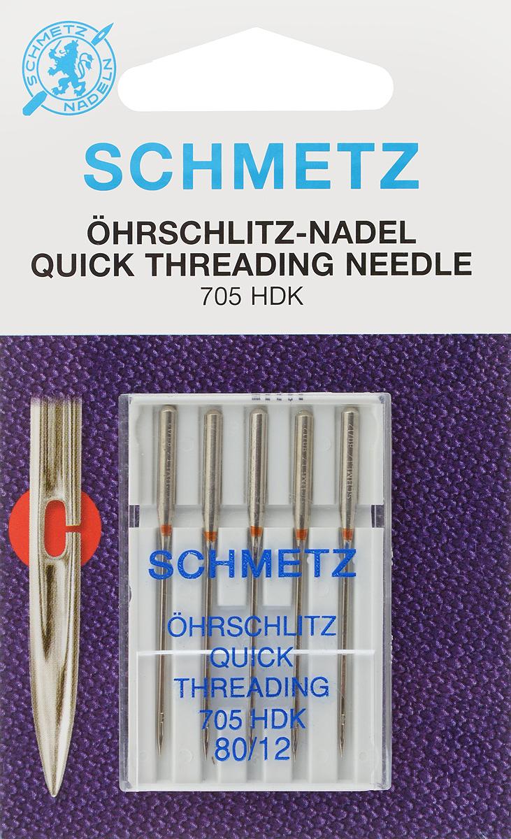 """Иглы для бытовых швейных машин """"Schmetz"""", универсальные, легковдеваемые, №80, 5 шт"""