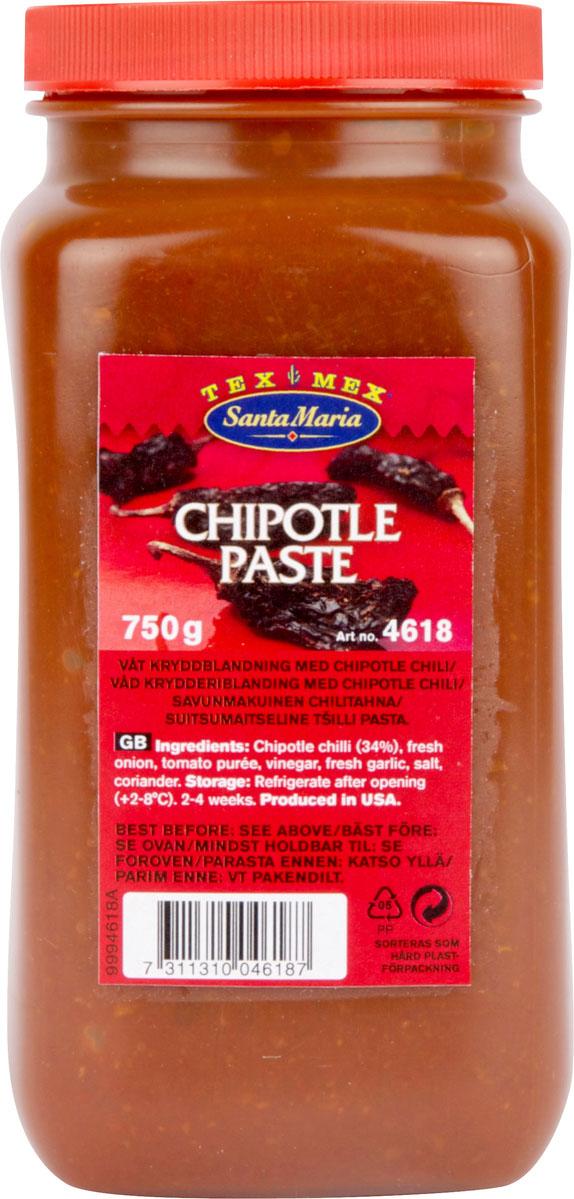 Santa Maria Паста Чипотле, 750 г4618Паста Santa Maria Чипотле для мясных и рыбных блюд, супов, тушеного мяса, гриль - соусов, мексиканских соусов и заправок для салатов. Хорошо сочетается с морепродуктами.