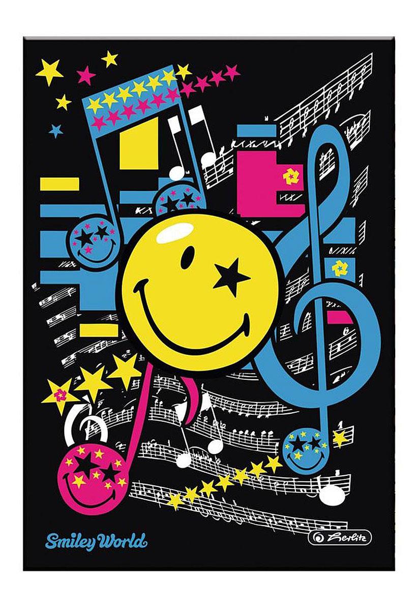 Herlitz Записная книжка Smiley Pop 96 листов в клетку11366069Записная книжка Herlitz Smiley Pop - незаменимый атрибут современного человека, необходимый для рабочих и повседневных записей в офисе и дома. Записная книжка формата А5 содержит 96 листов в клетку. Обложка, выполненная из плотного картона, оформлена изображением забавного смайла и нотных знаков. Прошитый внутренний блок гарантирует полное отсутствие потери листов.Записная книжка Herlitz Smiley Pop станет достойным аксессуаром среди ваших канцелярских принадлежностей. Она подойдет как для деловых людей, так и для любителей записывать свои мысли, рисовать скетчи, делать наброски.