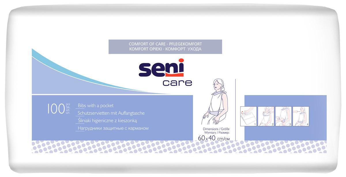 Seni Нагрудник защитный с карманом Care 100 шт seni рукавица для мытья care с непроницаемой пленкой 50 шт