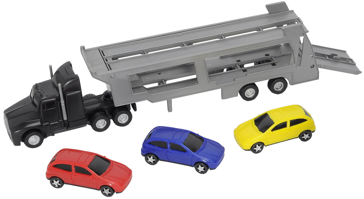 Dickie Toys Трейлер с 3 машинками автотрек dickie simba 3083077 спайдер мэн